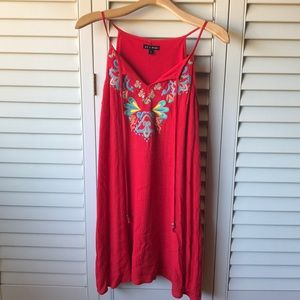 As U Wish Red Dress with Front Detailing 🌞